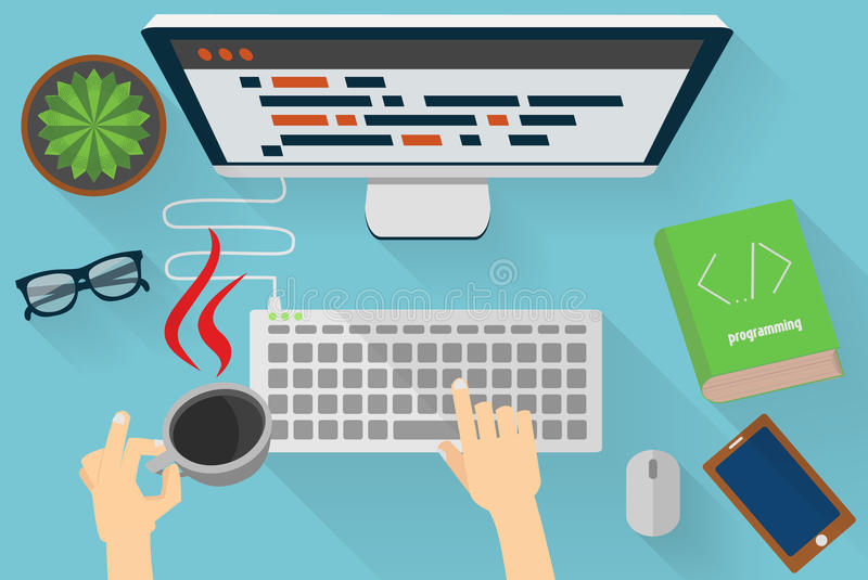 Java programmers workplace. One hand keep cup of coffee with specific java fire symbol royalty free illustration