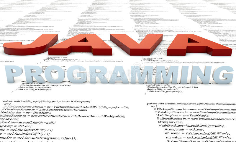 Java Programming. Java Programm developmenet, source Code stock illustration