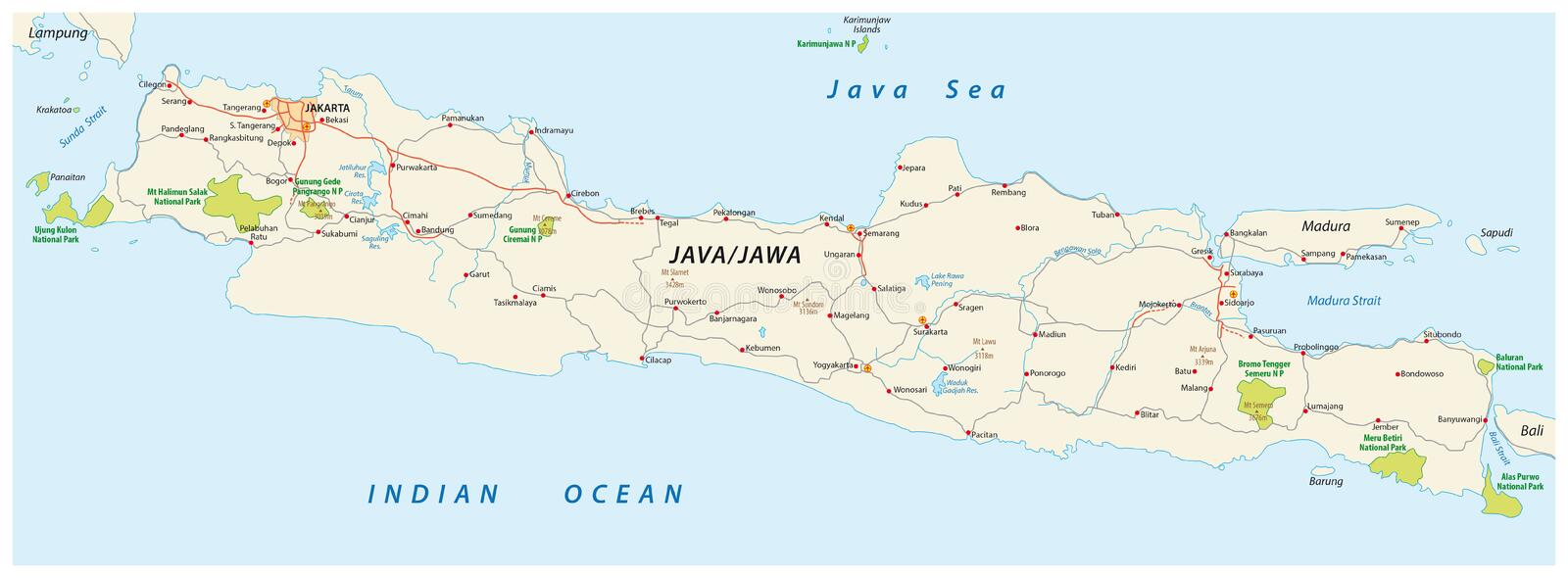 Java road and national park map indonesia stock illustration download java road and national park map indonesia stock illustration illustration of vector gumiabroncs Choice Image