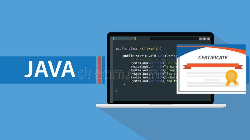 Java som programmerar språkcertifikatet med bärbara datorn och kodskriften på skärmen royaltyfri illustrationer
