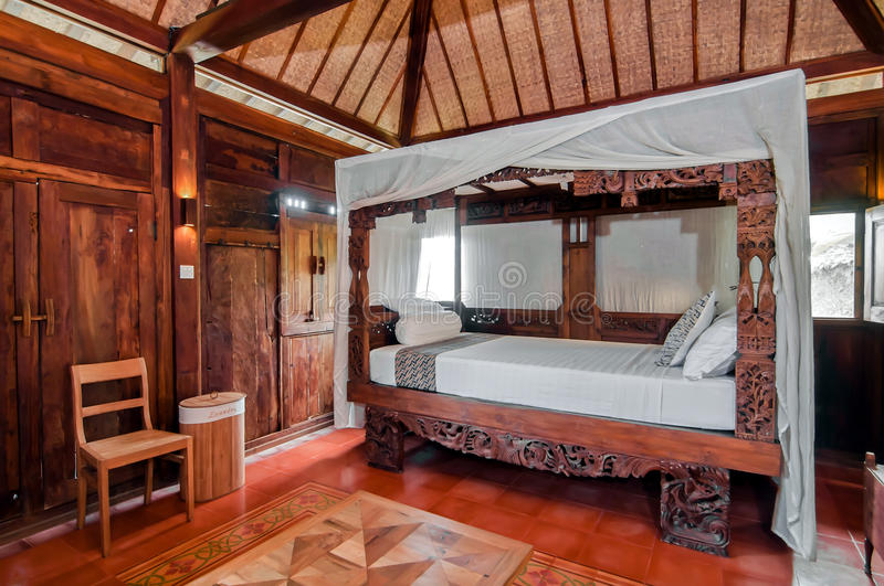 Wooden Java Style Bedroom royalty free stock images