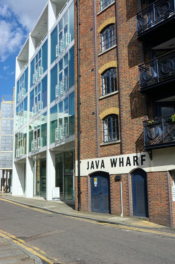 Java Wharf, old London warehouse dockside area. Java Wharf a former River Thames Warehouse in the Bermondsey area of London, now flats. c1860-70, partly rebuilt royalty free stock image