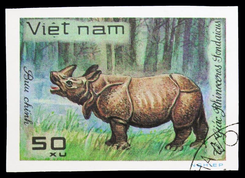 Javan Rhinoceros (Rhinoceros sondaicus), World wild animals serie, circa 1981. MOSCOW, RUSSIA - SEPTEMBER 26, 2018: A stamp printed in Vietnam shows Javan stock photography
