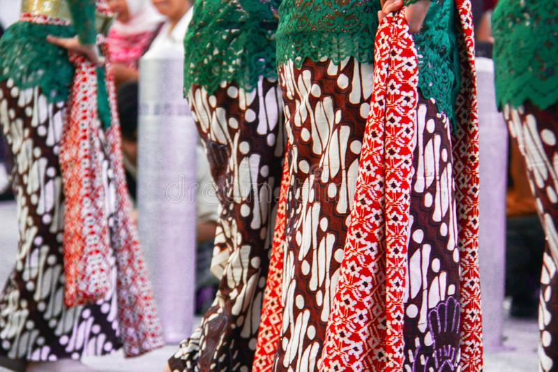 Javanese traditional dance which is simulated by several women in Javanese clothing royalty free stock photography