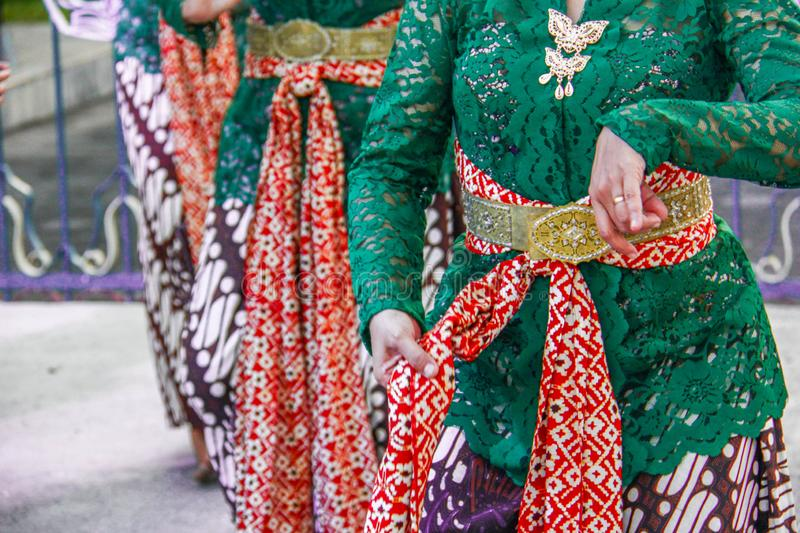 Javanese traditional dance which is simulated by several women in Javanese clothing stock photos