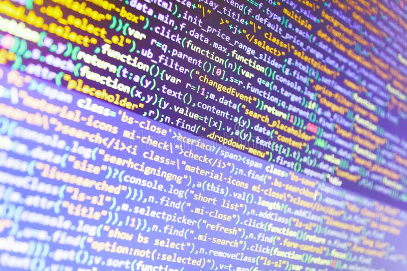 CSS, JavaScript And HTML Usage  Stock Image - Image of data, blue