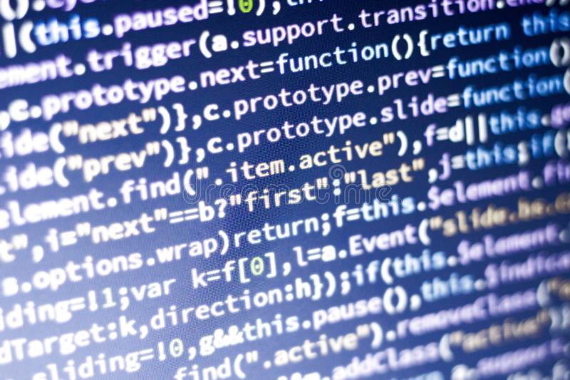 Javascript code. Computer programming source code. Abstract screen of web developer with glowing code. royalty free stock image
