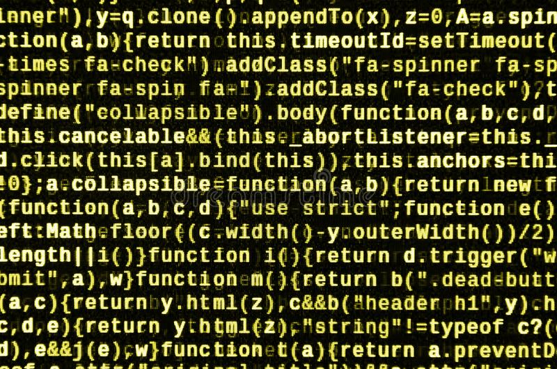 JavaScript code in text editor. Coding cyberspace concept. Screen of web developing code vector illustration