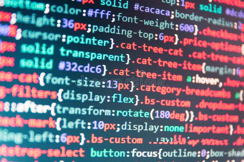 Javascript Code In Bracket Software  Stock Image - Image of cyber