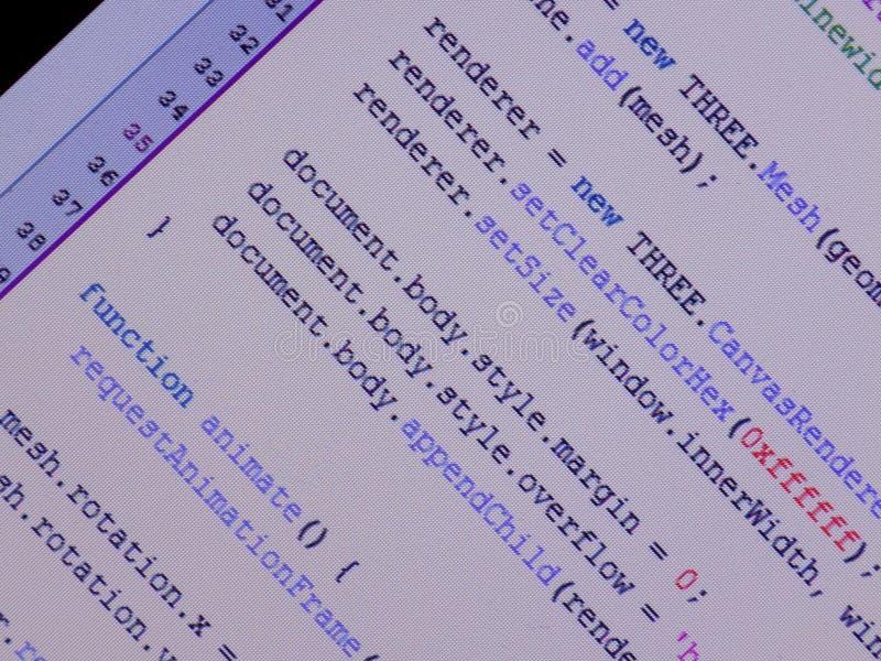 Javascript dans le rédacteur photo stock