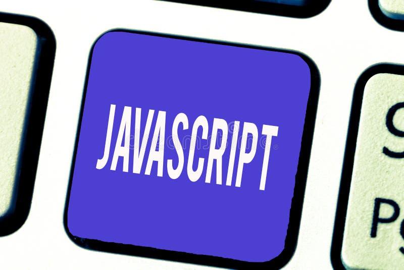 Javascript del texto de la escritura de la palabra Concepto del negocio para la lengua de la programación informática usada para  imagen de archivo libre de regalías