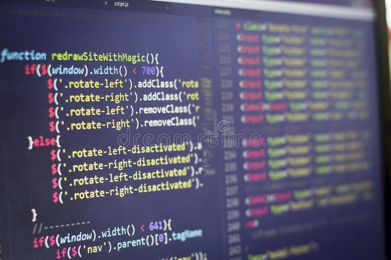 Javascript front-end code. Computer programming source code. Abstract screen of web developer. stock images