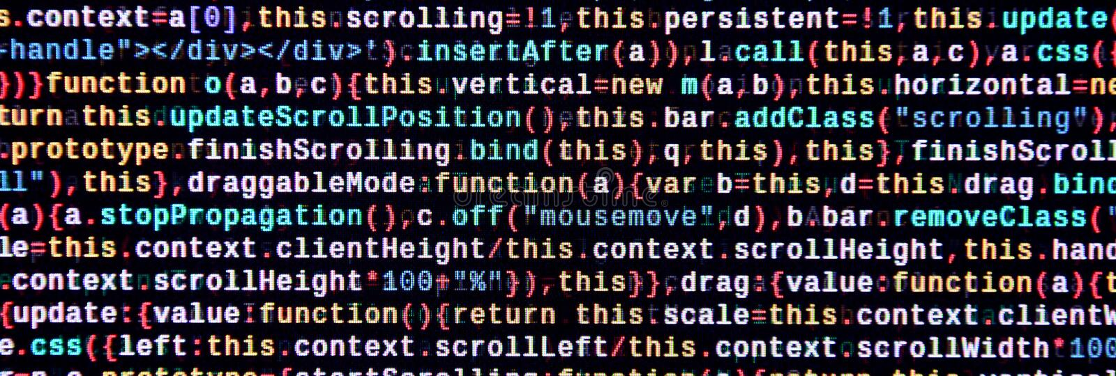 Javascript functions, variables, objects. Monitor closeup of function source code. IT specialist workplace stock image