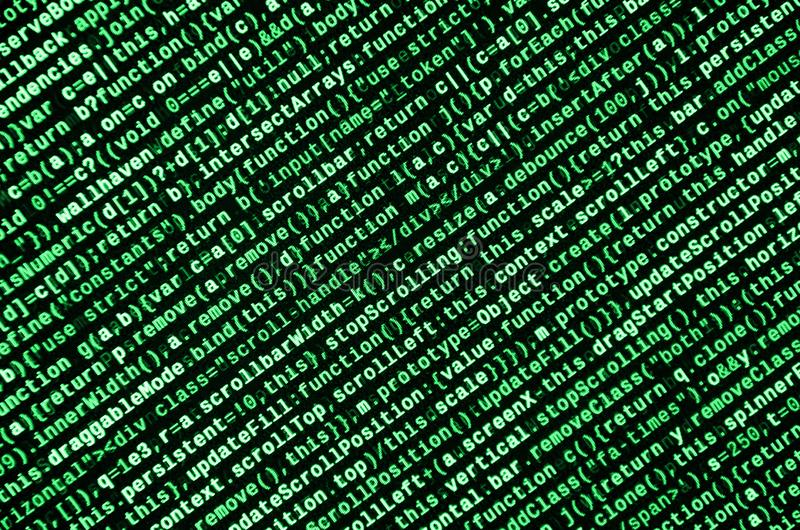 Javascript functions, variables, objects. Monitor closeup of function source code. IT specialist workplace. Big data and Internet of things trend. HTML website royalty free illustration