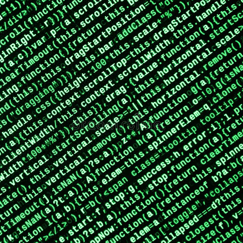 Javascript functions, variables, objects. Monitor closeup of function source code. IT specialist workplace. Big data and Internet of things trend. HTML website stock illustration