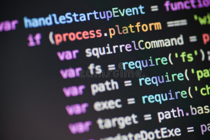 Javascript Node JS code stock photos