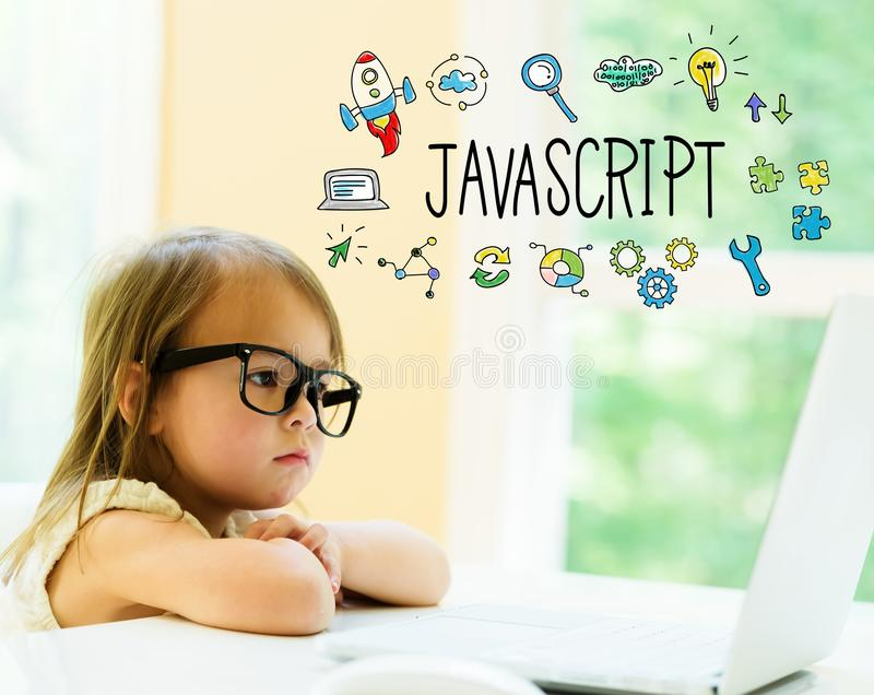 JavaScript text with little girl stock image