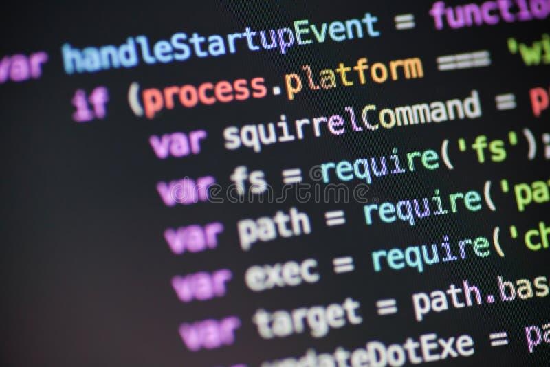 JavaScripta guzka JS kod zdjęcia stock