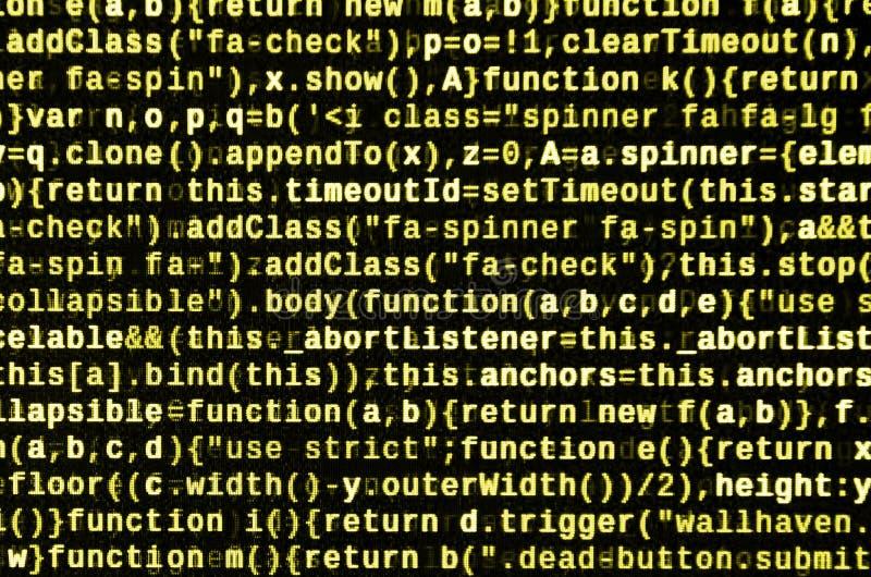 JavaScripta kod w teksta redaktorze Cyfrowanie cyberprzestrzeni pojęcie Ekran sieć rozwija kod royalty ilustracja
