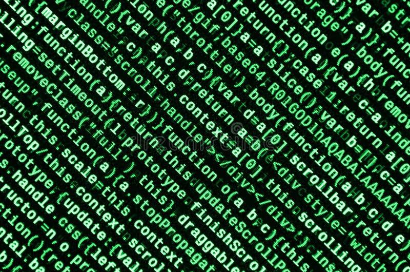 JavaScripta kod w teksta redaktorze Cyfrowanie cyberprzestrzeni pojęcie Ekran sieć rozwija kod ilustracja wektor