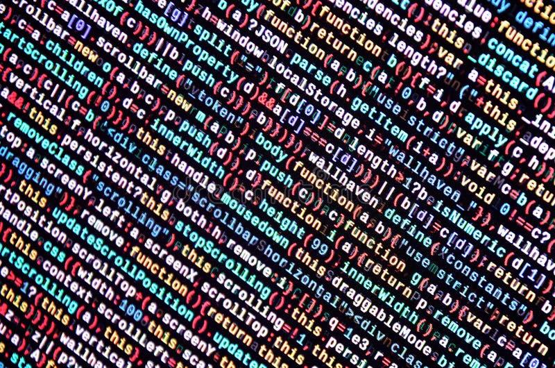 JavaScripta kod w teksta redaktorze Cyfrowanie cyberprzestrzeni pojęcie Ekran sieć rozwija kod ilustracji