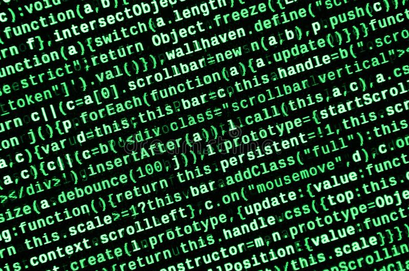 Javascriptfunktionen, Variablen, Gegenstände Überwachen Sie Nahaufnahme des Funktionsquellcodes IT-Fachmann-Arbeitsplatz lizenzfreie stockfotografie