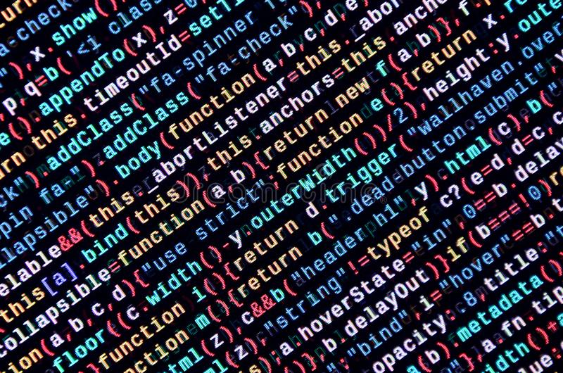 Javascriptfunktionen, Variablen, Gegenstände Überwachen Sie Nahaufnahme des Funktionsquellcodes IT-Fachmann-Arbeitsplatz lizenzfreies stockfoto