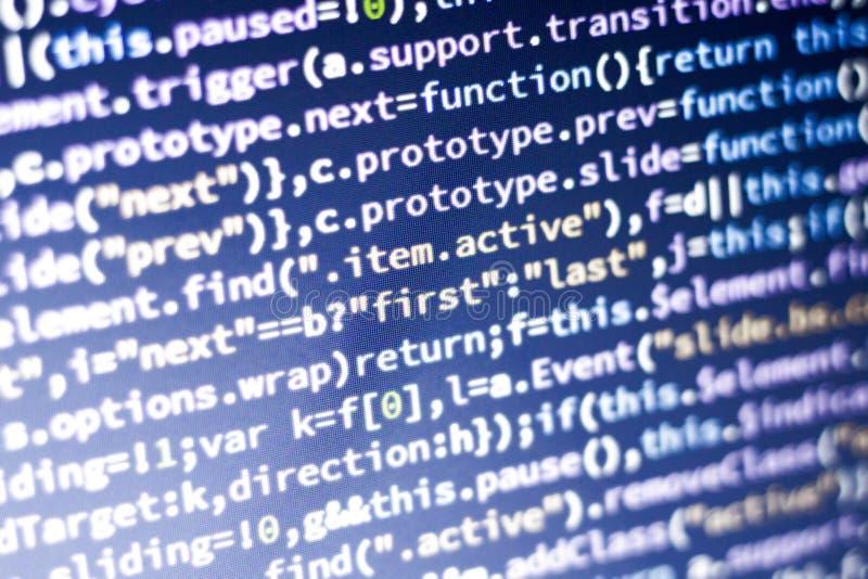 Javascriptkod Dator som programmerar källkod Abstrakt skärm av rengöringsdukbärare med glödande kod royaltyfri bild