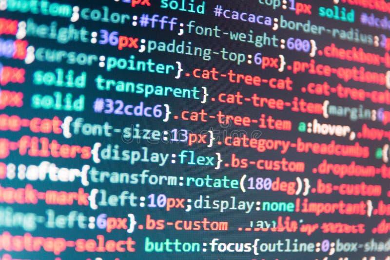 JavaScriptkod i textredaktör royaltyfri bild