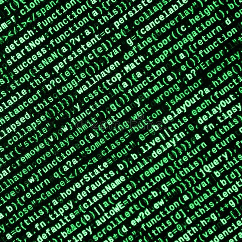 JavaScriptkod i textredaktör Kodifiera cyberspacebegrepp Skärm av den framkallande koden för rengöringsduk royaltyfri fotografi