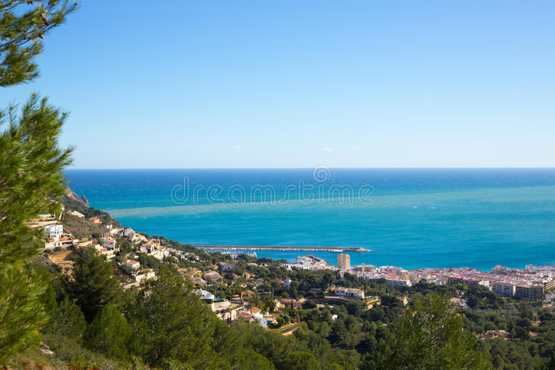 Javea in Alicante aerial view Valencian Community spain. Javea in Alicante aerial view Valencian Community of spain with Mediterranean sea royalty free stock photography