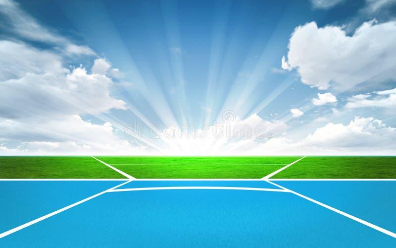Javelin throw post outside. Sport theme render illustration background vector illustration