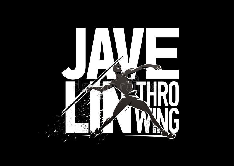 Javelin-throwing. Print emblem vector illustration