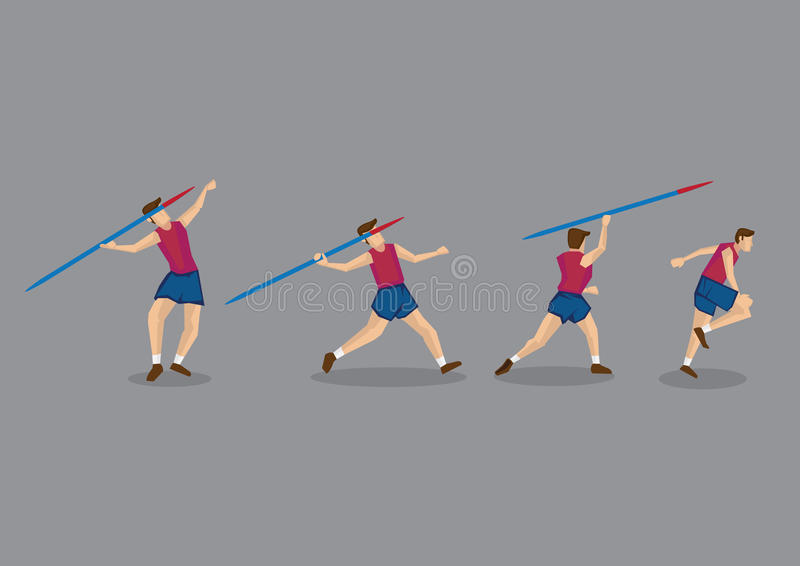 Javelin Throwing Sport Action Sequence royalty free illustration