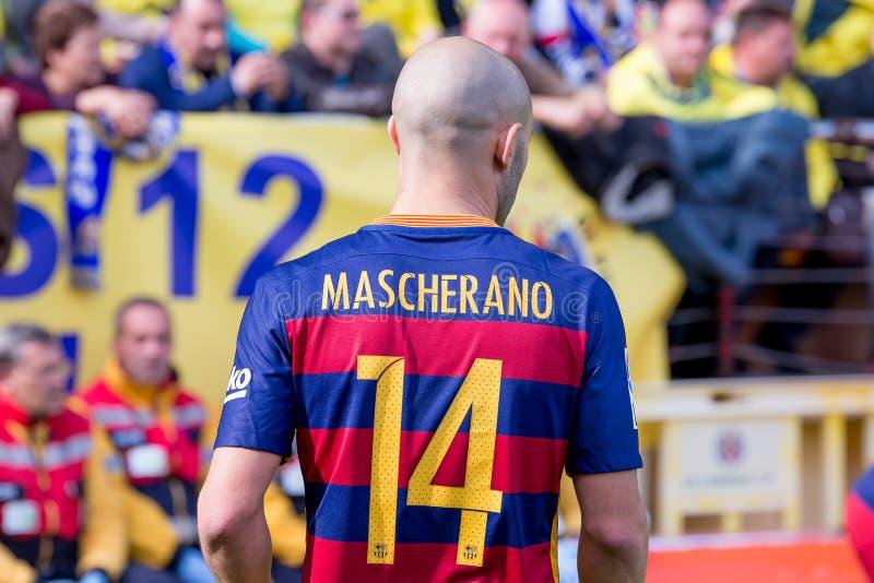Javier Mascherano joue à la correspondance de Liga de La entre le Villarreal CF et le FC Barcelona au stade de madrigal d'EL photo libre de droits