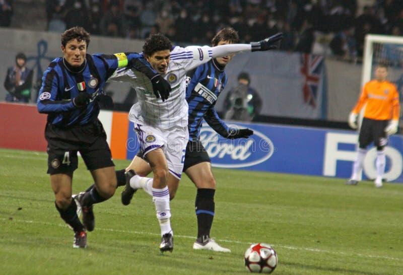 Javier Zanetti e Gerson Magrao imagens de stock