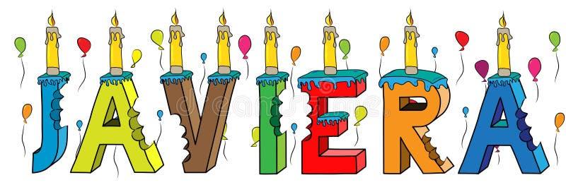 Javiera θηλυκό κέικ γενεθλίων ονόματος δαγκωμένο ζωηρόχρωμο τρισδιάστατο γράφοντας με τα κεριά και τα μπαλόνια απεικόνιση αποθεμάτων