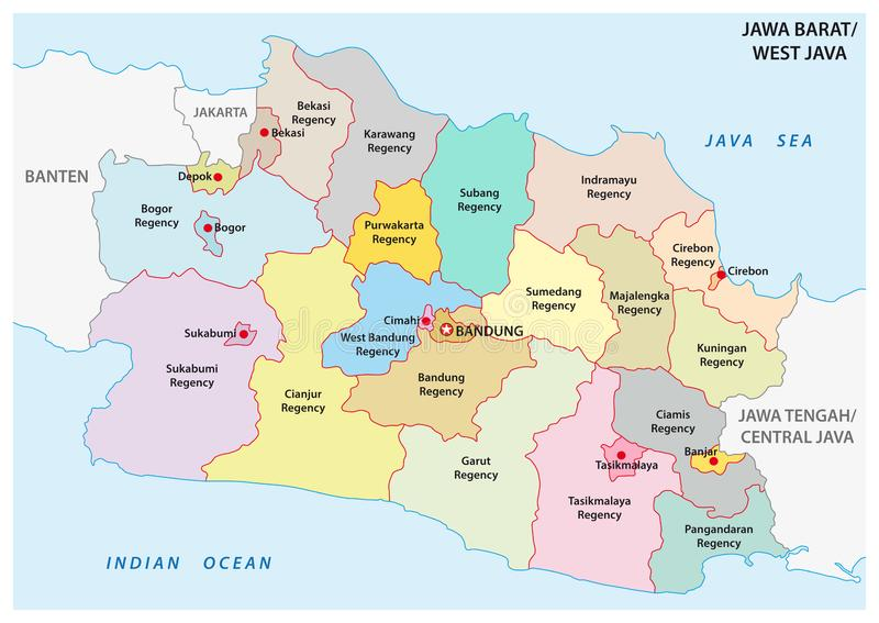 Jawa Barat, West Java administrative and political vector map, Indonesia.  royalty free illustration