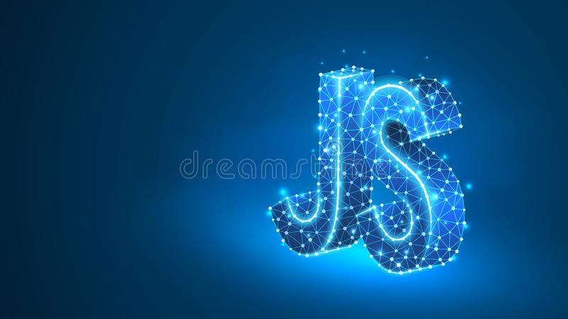Jawa pisma cyfrowania języka tekst Przyrz?d, programowanie, rozwija poj?cie Abstrakt, cyfrowy, wireframe, niska poli- siatka, wek ilustracji