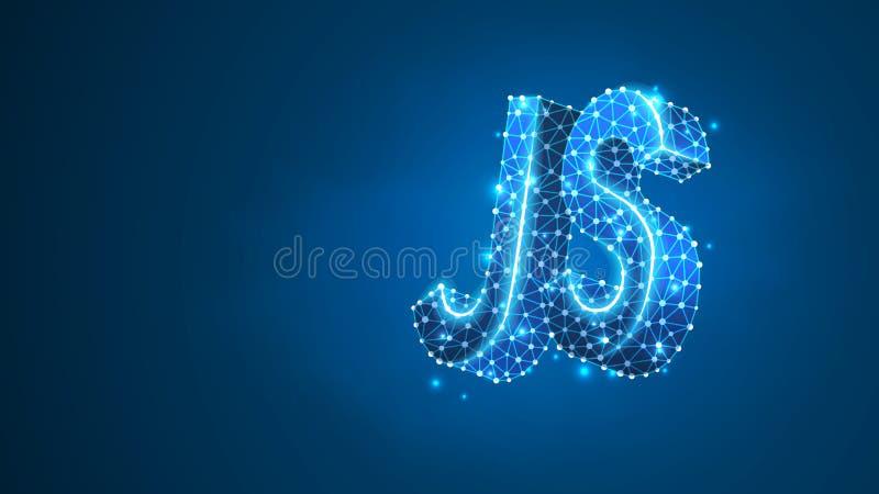 Jawa pisma cyfrowania języka tekst Przyrz?d, programowanie, rozwija poj?cie Abstrakt, cyfrowy, wireframe, niska poli- siatka, wek ilustracja wektor