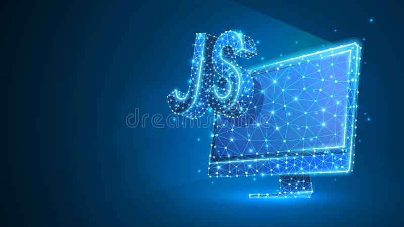 Jawa pisma cyfrowania języka znak na komputerowym monitorze Przyrz?d, programowanie, rozwija poj?cie Abstrakt, cyfrowy, wireframe ilustracja wektor