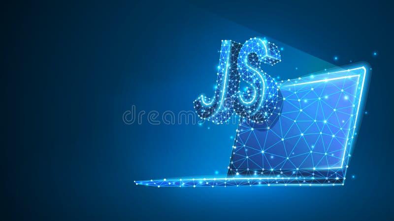 Jawa pisma cyfrowania języka znak na notatnika ekranie Przyrz?d, programowanie, rozwija poj?cie Abstrakt, cyfrowy, wireframe, dep royalty ilustracja
