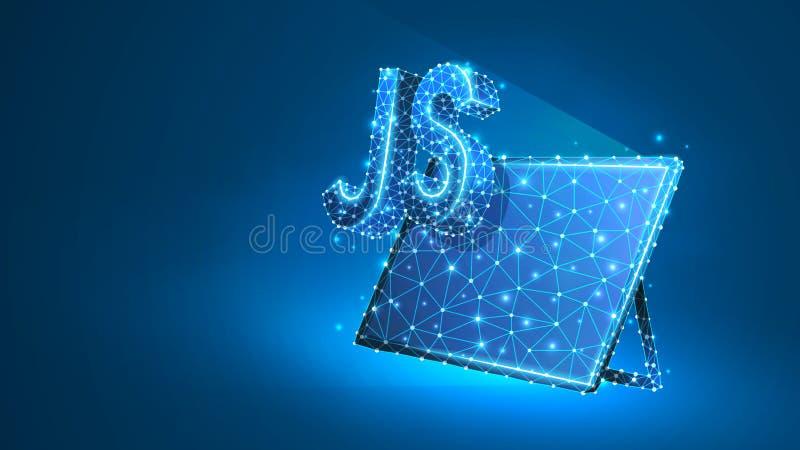 Jawa pisma cyfrowania języka znak na pastylka ekranie Przyrz?d, programowanie, rozwija poj?cie Abstrakt, cyfrowy, wireframe ilustracja wektor
