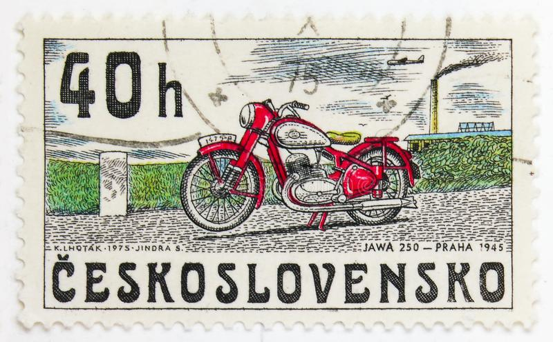 JAWA 250, Praha 1945, History of Czechoslovak motor­cycle serie, circa 1975. MOSCOW, RUSSIA - JULY 15, 2019: Postage stamp printed in Czechoslovakia shows royalty free stock image