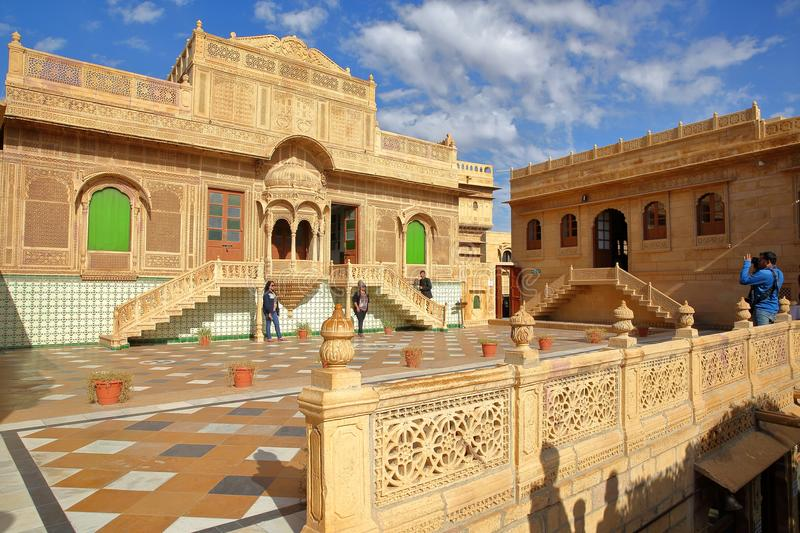 JAISALMER, RAJASTHAN, INDIA - DECEMBER 20, 2017: Jawahir Vilas inside Mandir Palace with patterned pavement and ornate facade stock images