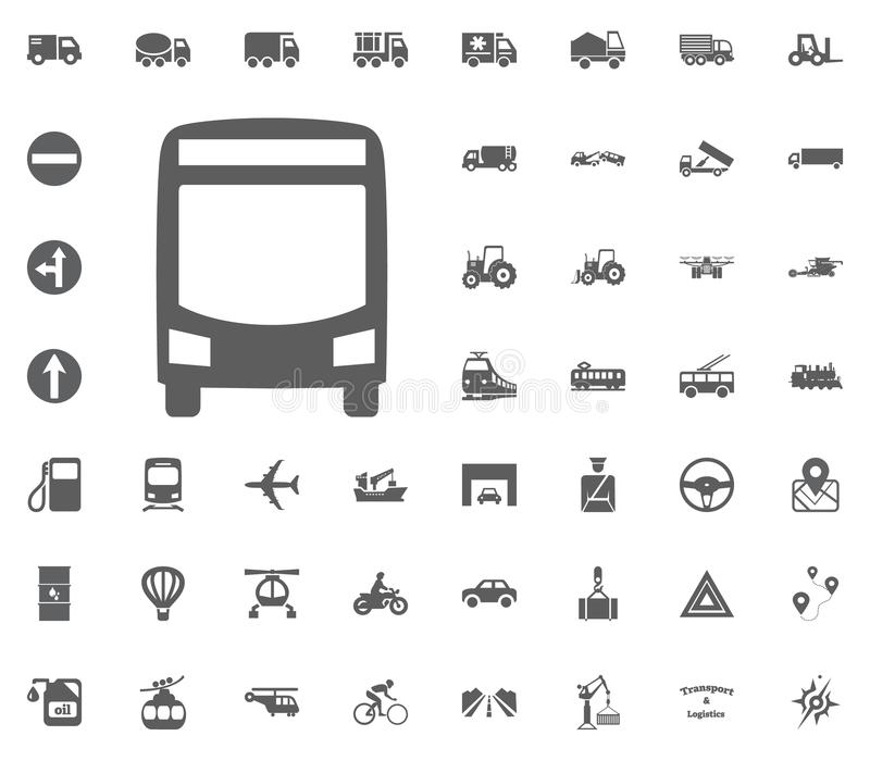 Jawna autobusowa ikona Transport i logistyki ustawiamy ikony Transport ustalone ikony obraz royalty free