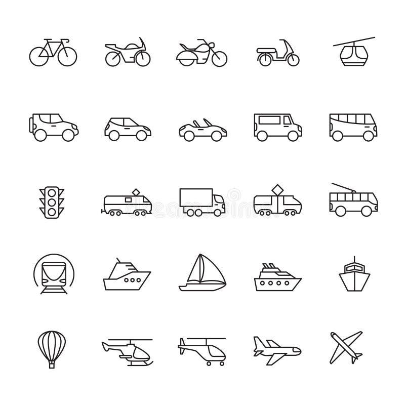 Jawne pasażerskie przewiezionej linii ikony Samochody i pojazdy ustawiający Transportu i wysyłki konturu symbole odizolowywający ilustracji
