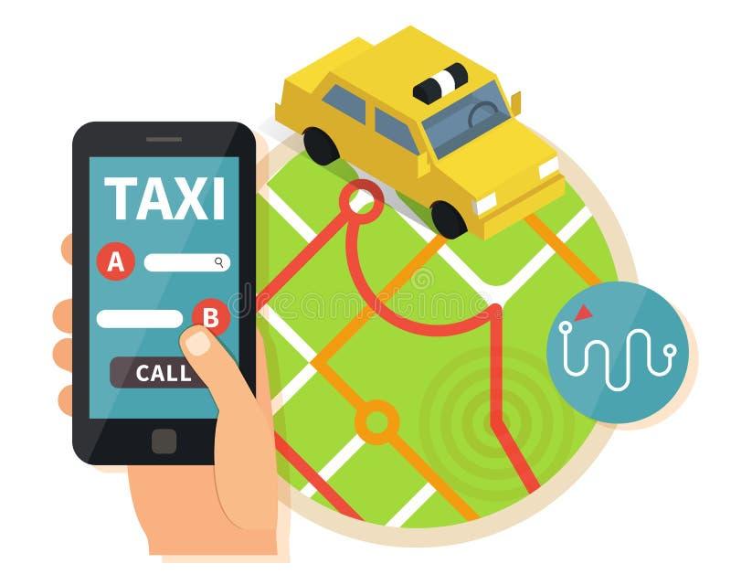 Jawnego taxi online usługa, mobilny zastosowanie ilustracja wektor