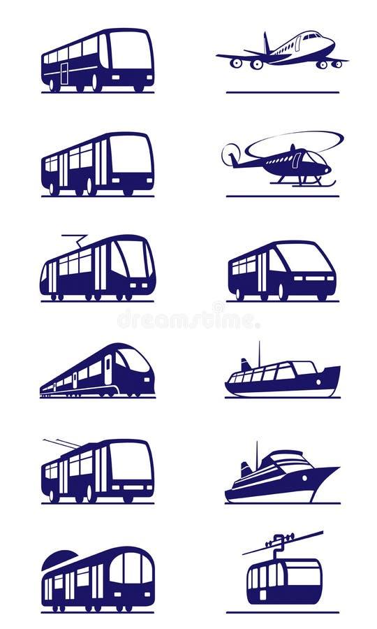 Jawnego transportu ikony set royalty ilustracja