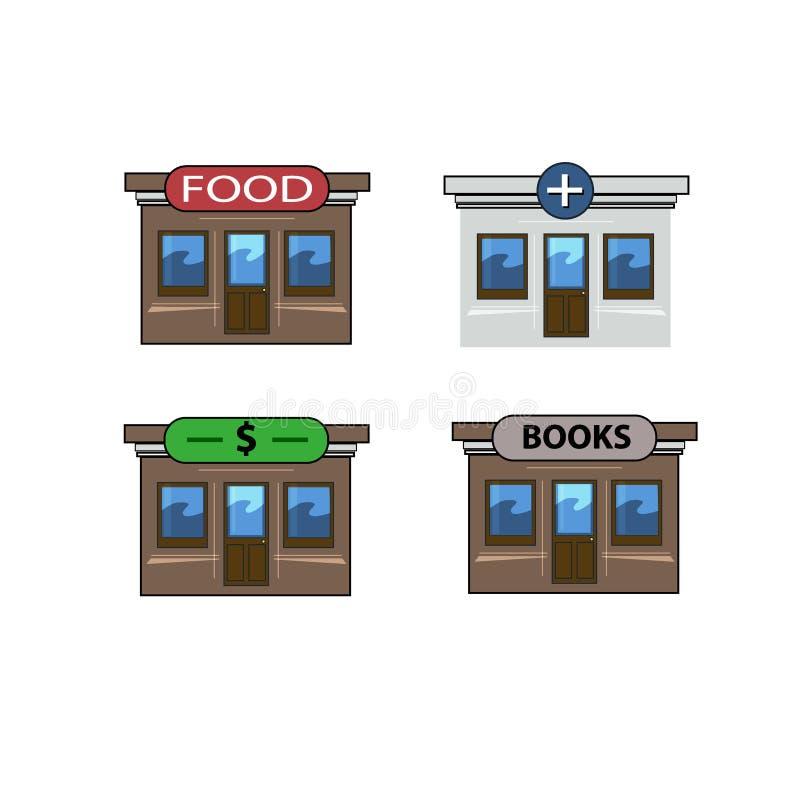 Jawni instytucjonalni budynki, handlowi budynki, rządowi budynki miasto, ikony miasto ilustracja wektor